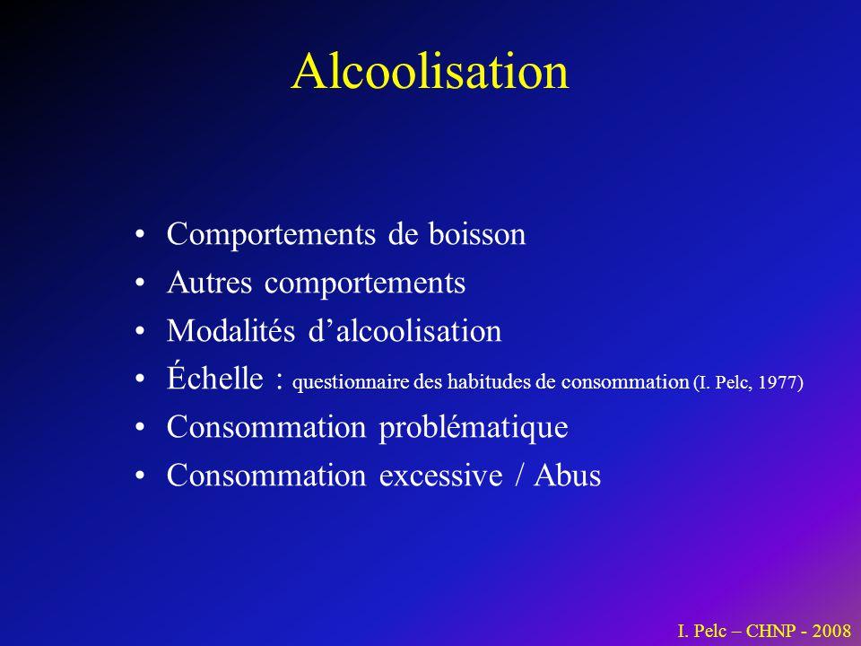Alcoolisation Comportements de boisson Autres comportements Modalités dalcoolisation Échelle : questionnaire des habitudes de consommation (I. Pelc, 1