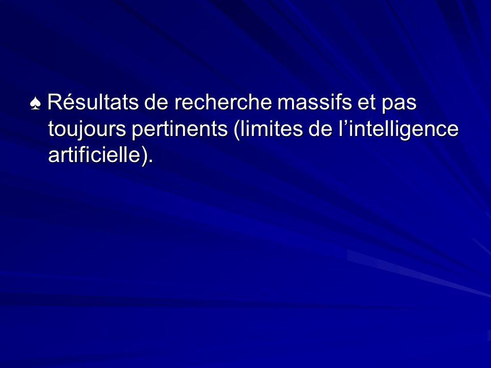 Résultats de recherche massifs et pas toujours pertinents (limites de lintelligence artificielle).