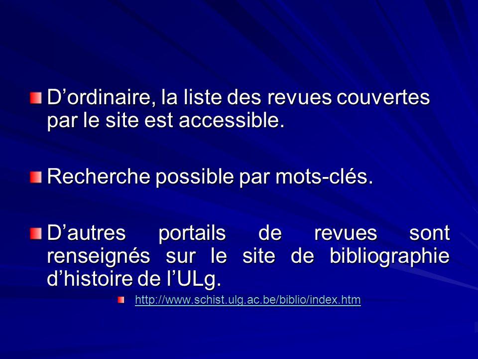 Dordinaire, la liste des revues couvertes par le site est accessible.