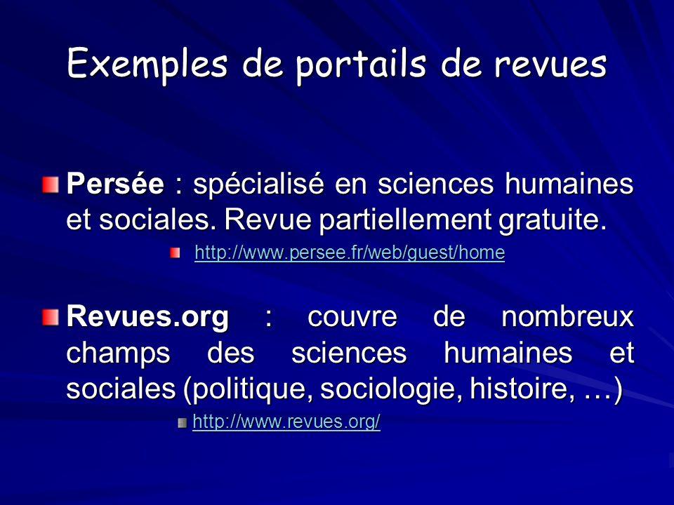 Exemples de portails de revues Persée : spécialisé en sciences humaines et sociales. Revue partiellement gratuite. http://www.persee.fr/web/guest/home