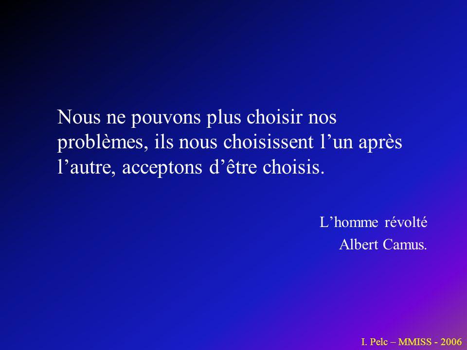 Nous ne pouvons plus choisir nos problèmes, ils nous choisissent lun après lautre, acceptons dêtre choisis. Lhomme révolté Albert Camus. I. Pelc – MMI