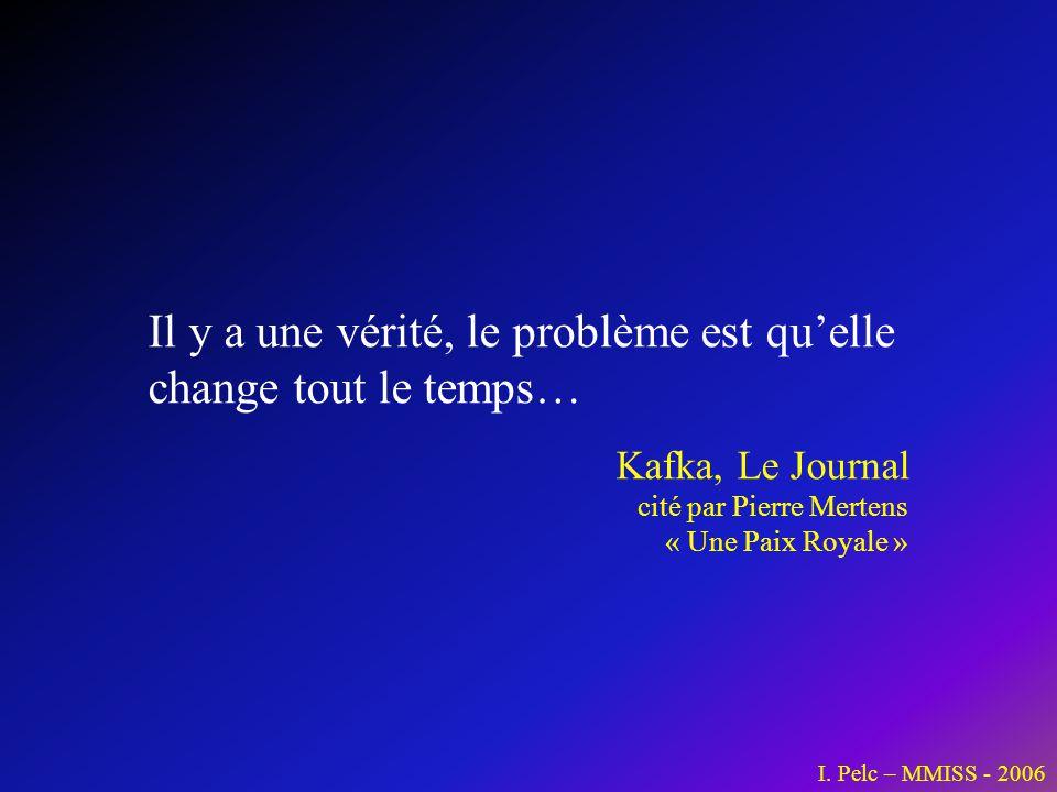 I. Pelc – MMISS - 2006 Il y a une vérité, le problème est quelle change tout le temps… Kafka, Le Journal cité par Pierre Mertens « Une Paix Royale »