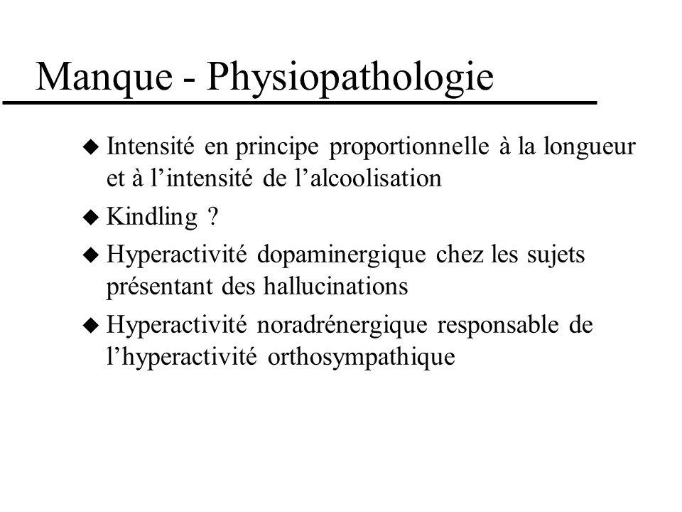 Manque - Physiopathologie Intensité en principe proportionnelle à la longueur et à lintensité de lalcoolisation Kindling ? Hyperactivité dopaminergiqu