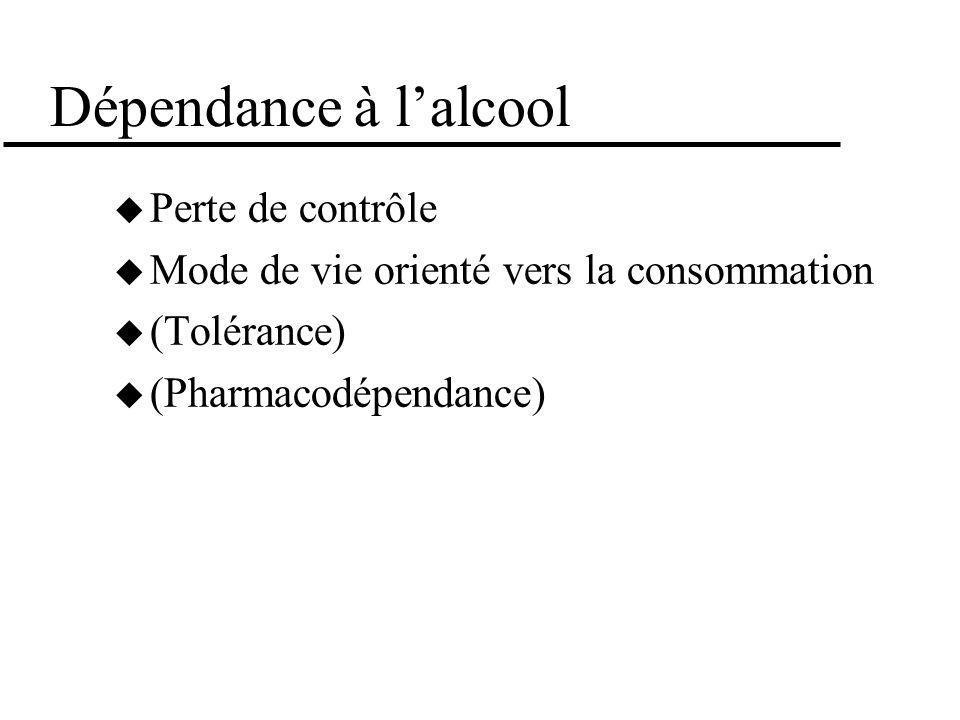 Dépendance à lalcool Perte de contrôle Mode de vie orienté vers la consommation (Tolérance) (Pharmacodépendance)