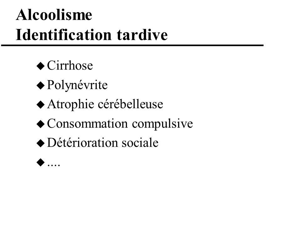 Alcoolisme Identification tardive Cirrhose Polynévrite Atrophie cérébelleuse Consommation compulsive Détérioration sociale....