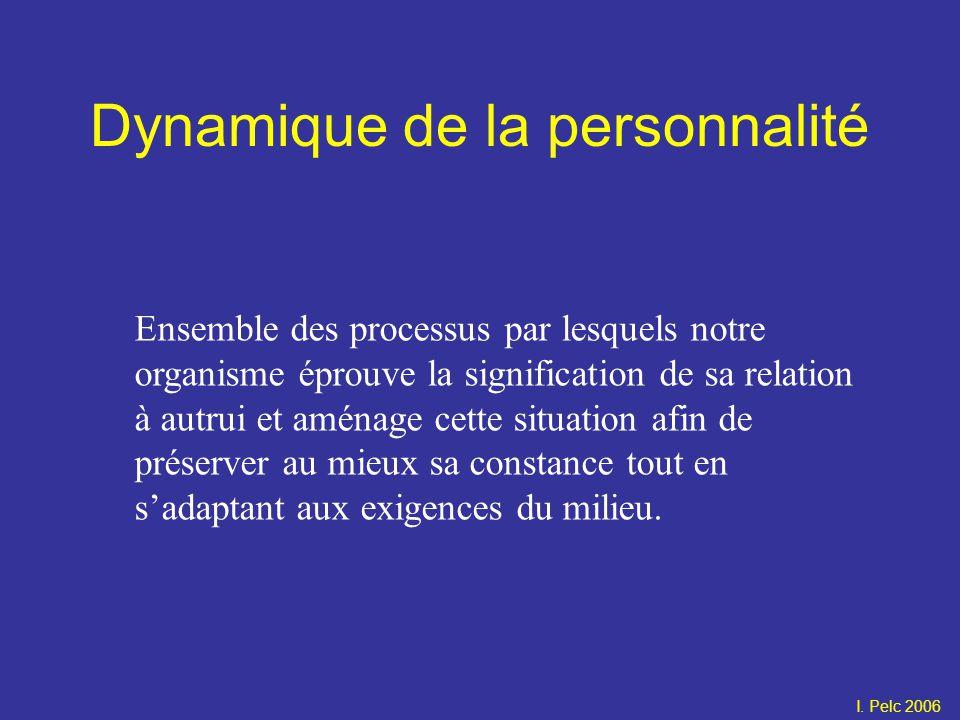 Dynamique de la personnalité Ensemble des processus par lesquels notre organisme éprouve la signification de sa relation à autrui et aménage cette sit