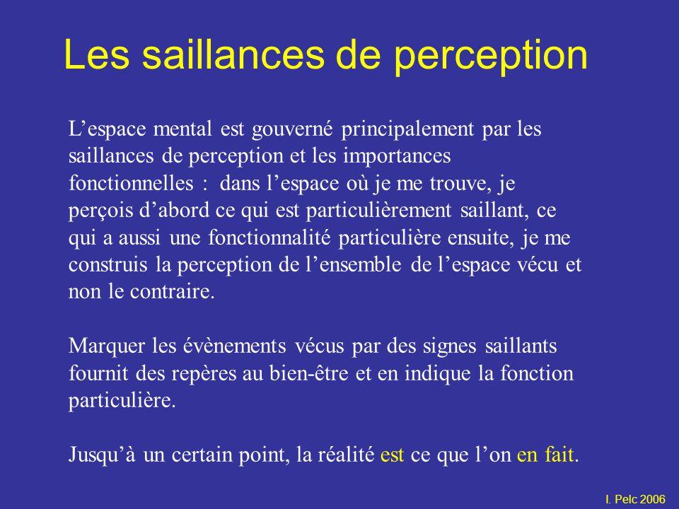 Lespace mental est gouverné principalement par les saillances de perception et les importances fonctionnelles : dans lespace où je me trouve, je perço