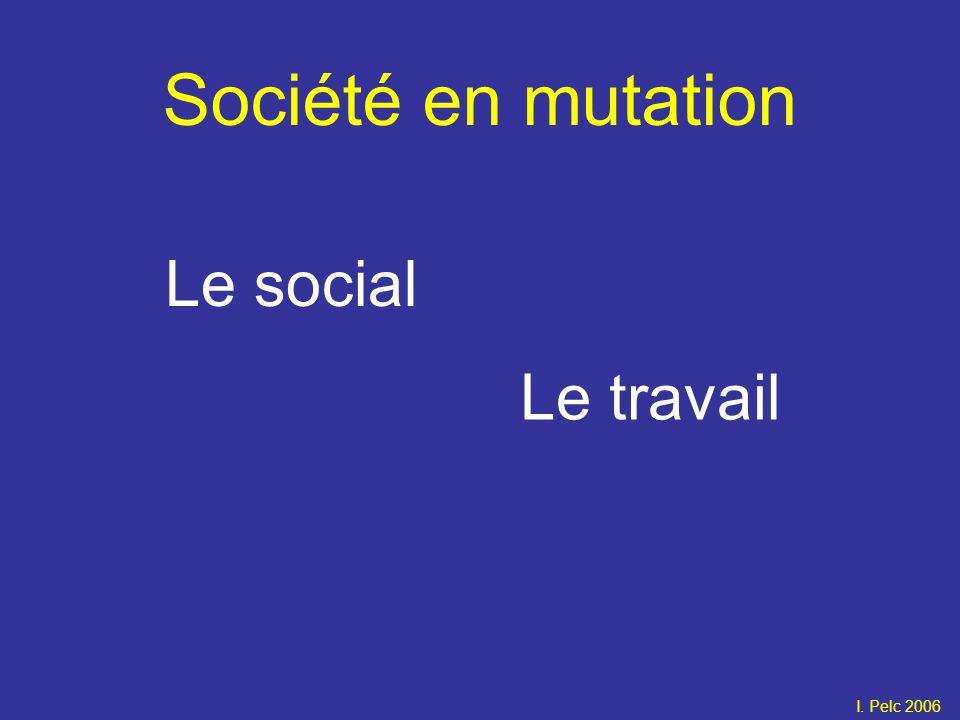 Société en mutation Le social Le travail I. Pelc 2006