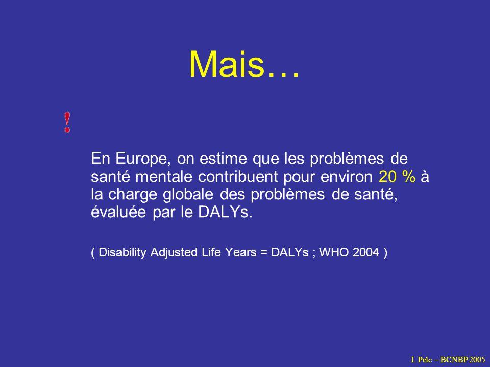 Mais… En Europe, on estime que les problèmes de santé mentale contribuent pour environ 20 % à la charge globale des problèmes de santé, évaluée par le