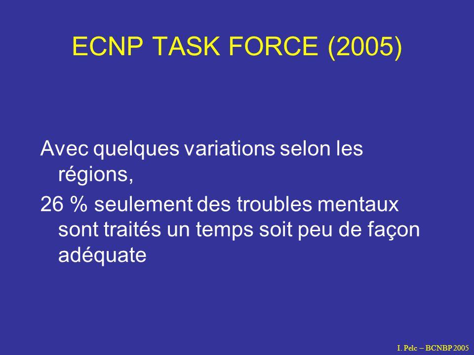 ECNP TASK FORCE (2005) Avec quelques variations selon les régions, 26 % seulement des troubles mentaux sont traités un temps soit peu de façon adéquat