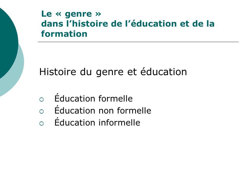 Le « genre » dans lhistoire de léducation et de la formation Histoire du genre et éducation Éducation formelle Éducation non formelle Éducation informelle