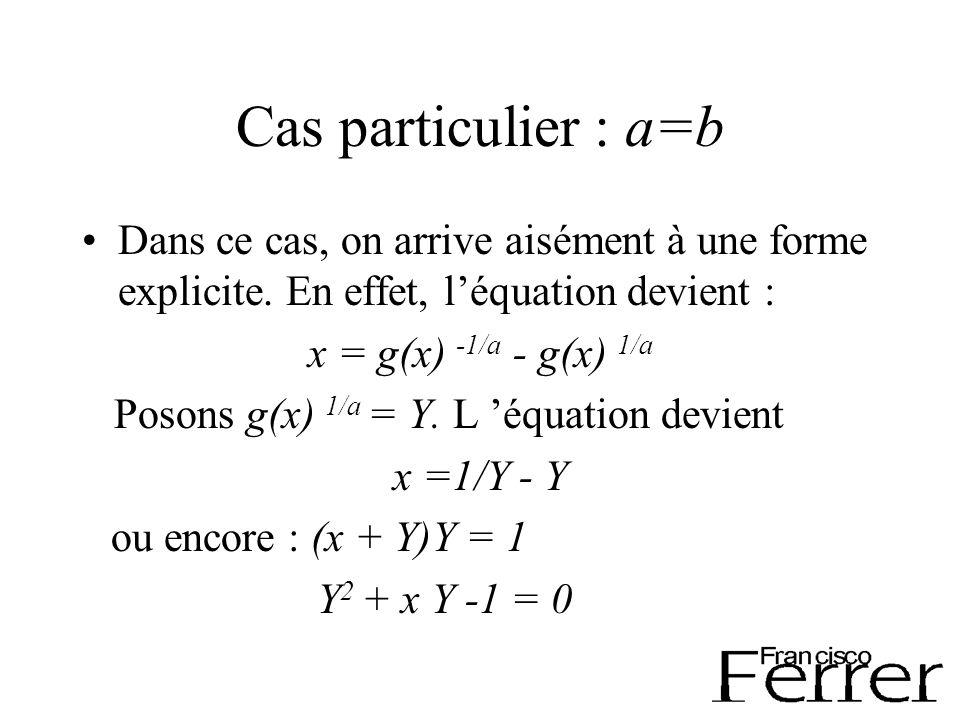 Cas particulier : a=b Dans ce cas, on arrive aisément à une forme explicite.