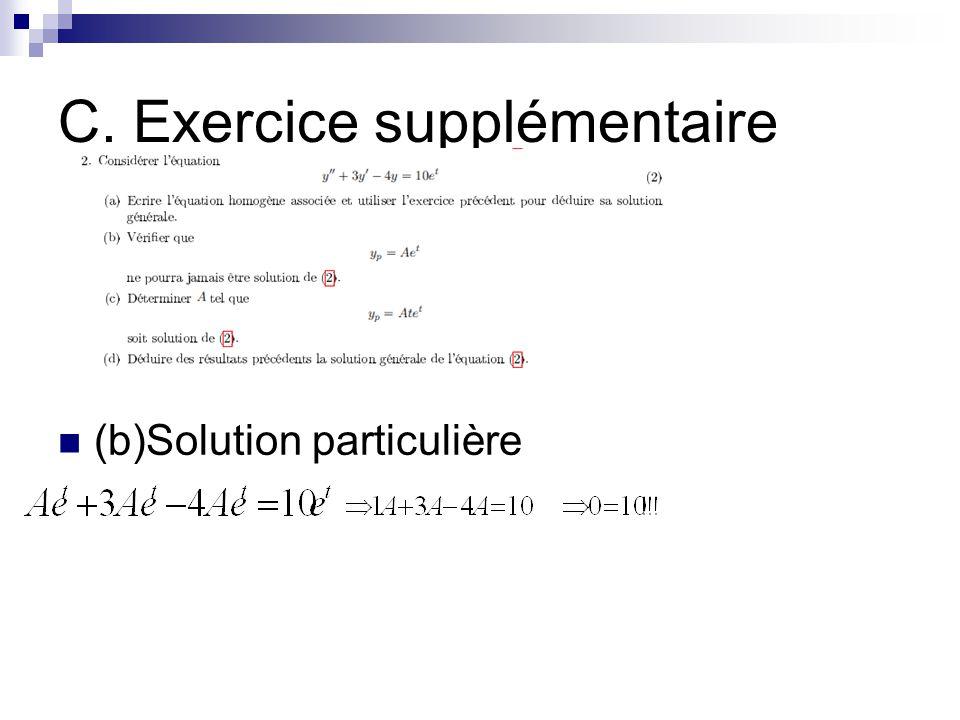 C. Exercice supplémentaire (b)Solution particulière