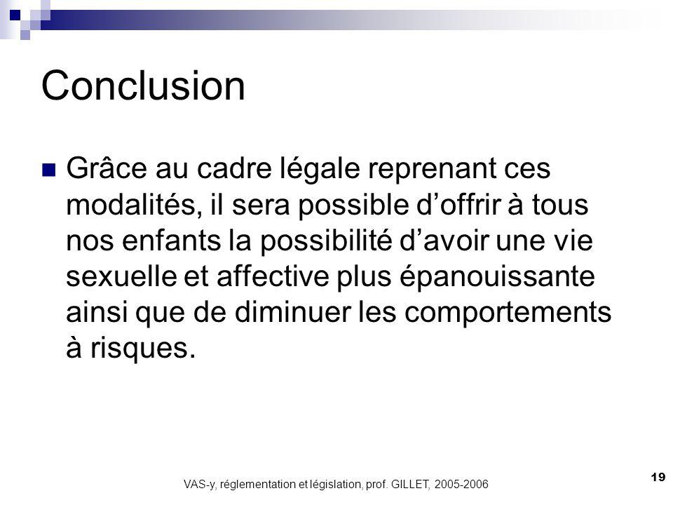 VAS-y, réglementation et législation, prof. GILLET, 2005-2006 19 Conclusion Grâce au cadre légale reprenant ces modalités, il sera possible doffrir à