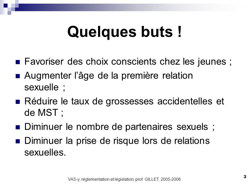 VAS-y, réglementation et législation, prof. GILLET, 2005-2006 3 Quelques buts ! Favoriser des choix conscients chez les jeunes ; Augmenter lâge de la
