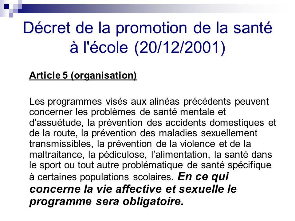 Décret de la promotion de la santé à l'école (20/12/2001) Article 5 (organisation) Les programmes visés aux alinéas précédents peuvent concerner les p