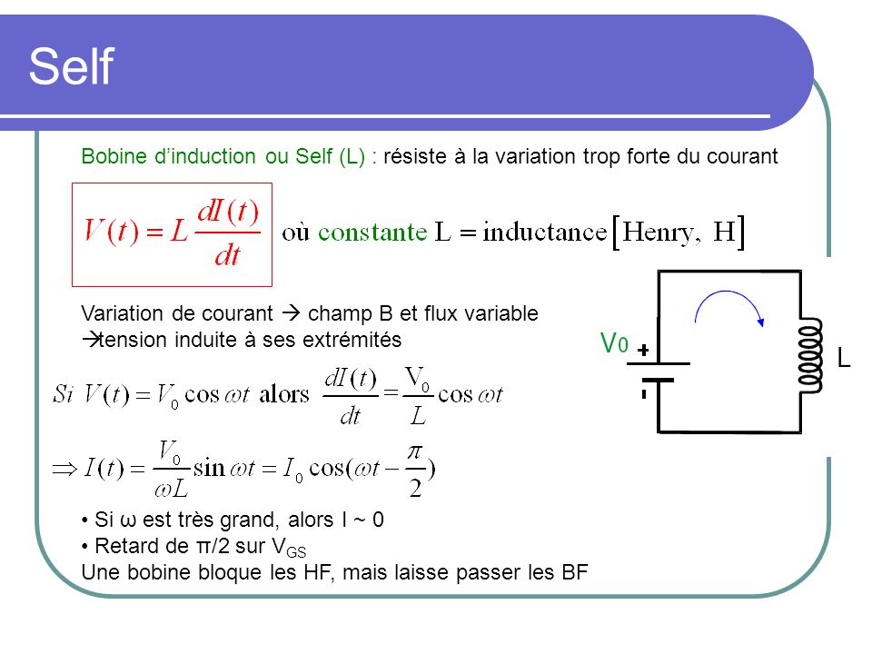 Résistance & Condensateur Résistance (R) : où constante R = résistance [Ohms, Ω] Courant I : Condensateur ou Capacité (C) : stocke des charges Si ω = 0, alors I = 0 Avance de π/2 sur V GS Une capacité laisse passer les hautes fréquences (HF) mais bloque les basses fréquences (BF)