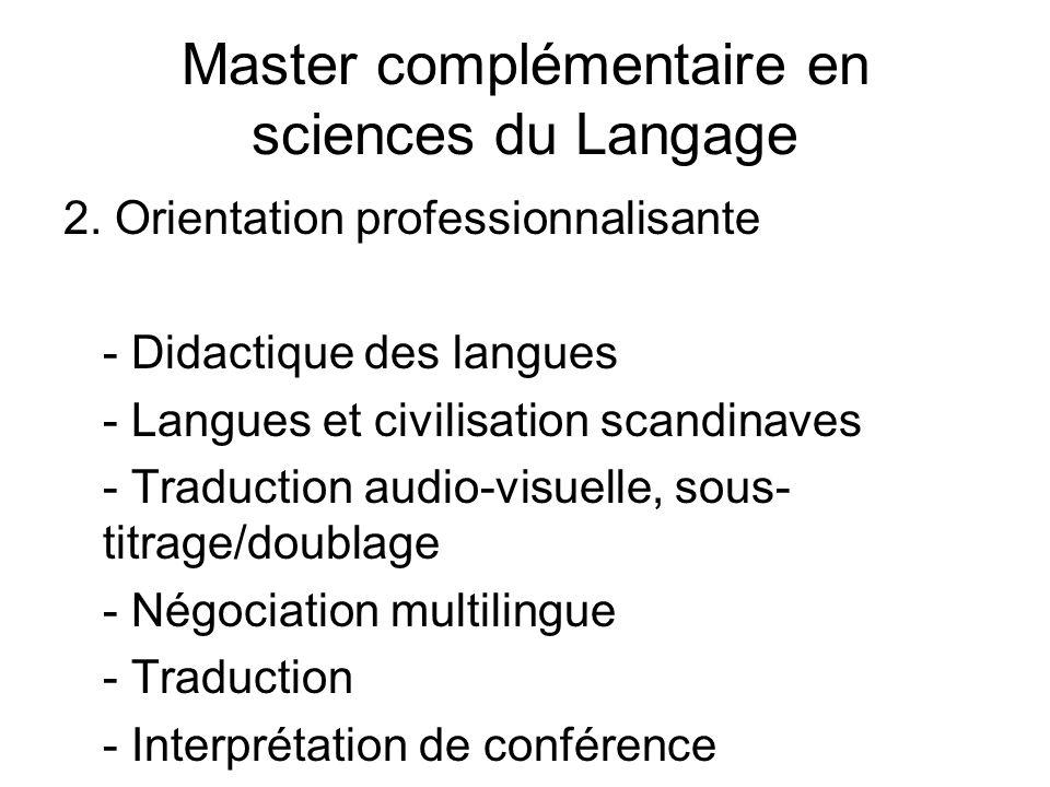Master complémentaire en sciences du Langage 2.