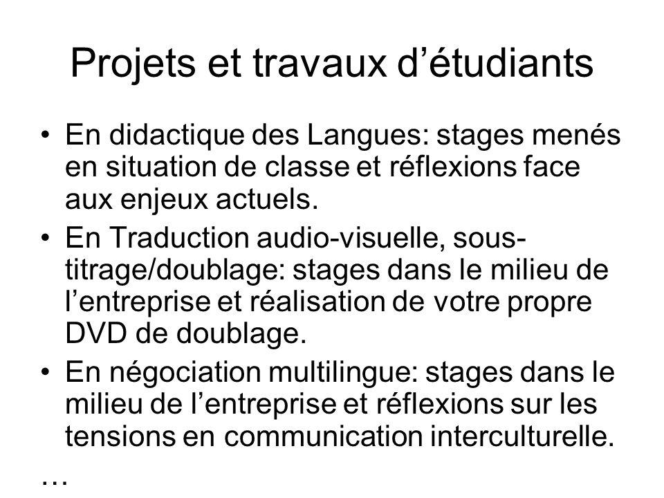 Principaux partenaires en terme déchanges européens Professeurs rattachés à lUniversité de Toulouse II-Le Mirail Possibilité dErasmus, par exemple, avec lUniversité Autonome de Barcelone Possibilité de suivre des modules entiers à lUniversité Libre de Bruxelles