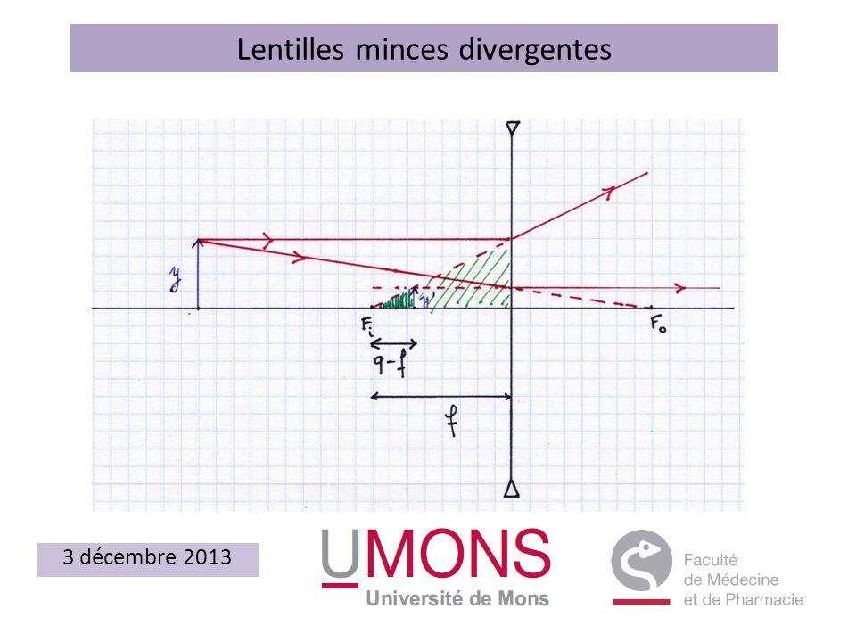 Lentilles minces divergentes 3 décembre 2013