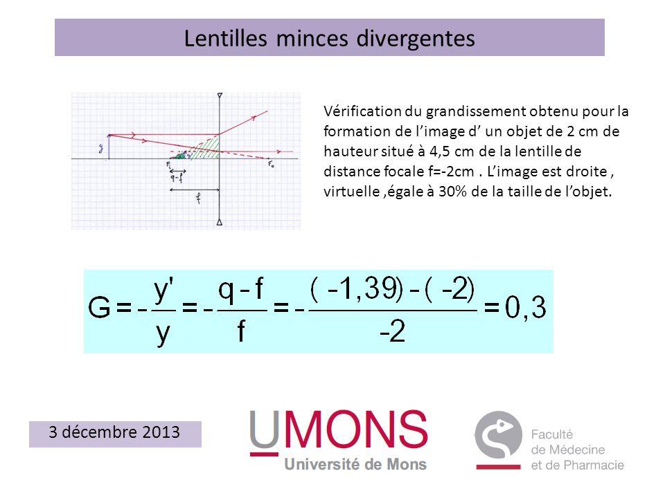 Lentilles minces divergentes 3 décembre 2013 Vérification du grandissement obtenu pour la formation de limage d un objet de 2 cm de hauteur situé à 4,5 cm de la lentille de distance focale f=-2cm.