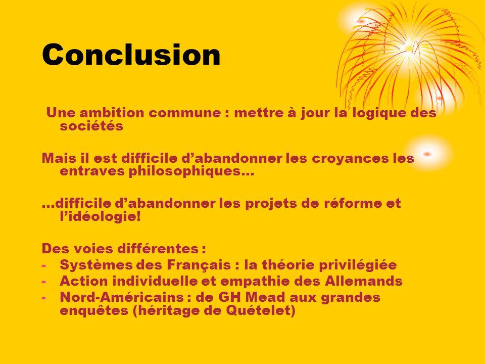 Une ambition commune : mettre à jour la logique des sociétés Mais il est difficile dabandonner les croyances les entraves philosophiques... …difficile