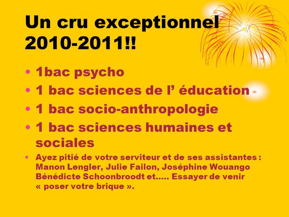 Un cru exceptionnel 2010-2011!! 1bac psycho 1 bac sciences de l éducation 1 bac socio-anthropologie 1 bac sciences humaines et sociales Ayez pitié de
