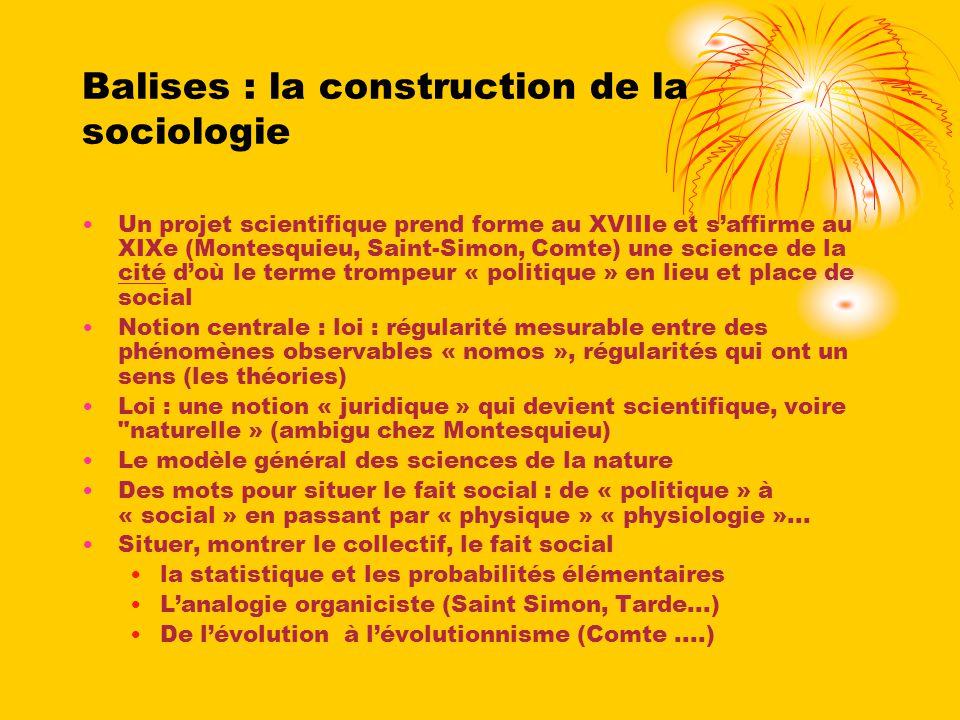Balises : la construction de la sociologie Un projet scientifique prend forme au XVIIIe et saffirme au XIXe (Montesquieu, Saint-Simon, Comte) une scie