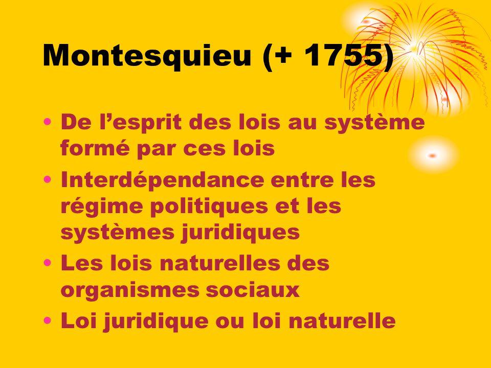Montesquieu (+ 1755) De lesprit des lois au système formé par ces lois Interdépendance entre les régime politiques et les systèmes juridiques Les lois