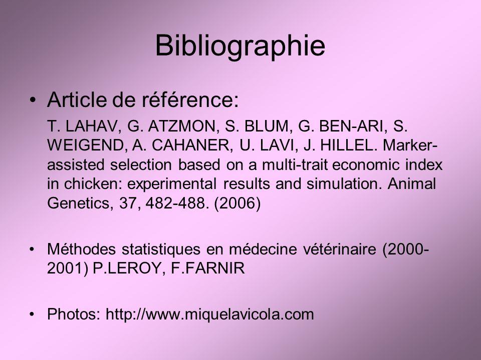 Bibliographie Article de référence: T. LAHAV, G. ATZMON, S. BLUM, G. BEN-ARI, S. WEIGEND, A. CAHANER, U. LAVI, J. HILLEL. Marker- assisted selection b