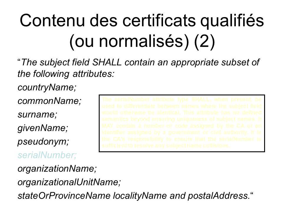 Contenu des certificats (1) Le rapport au Roi de lA.R. 25 mars 2003 sur la carte didentité renvoie au cahier des charges publié sur le site du Registr