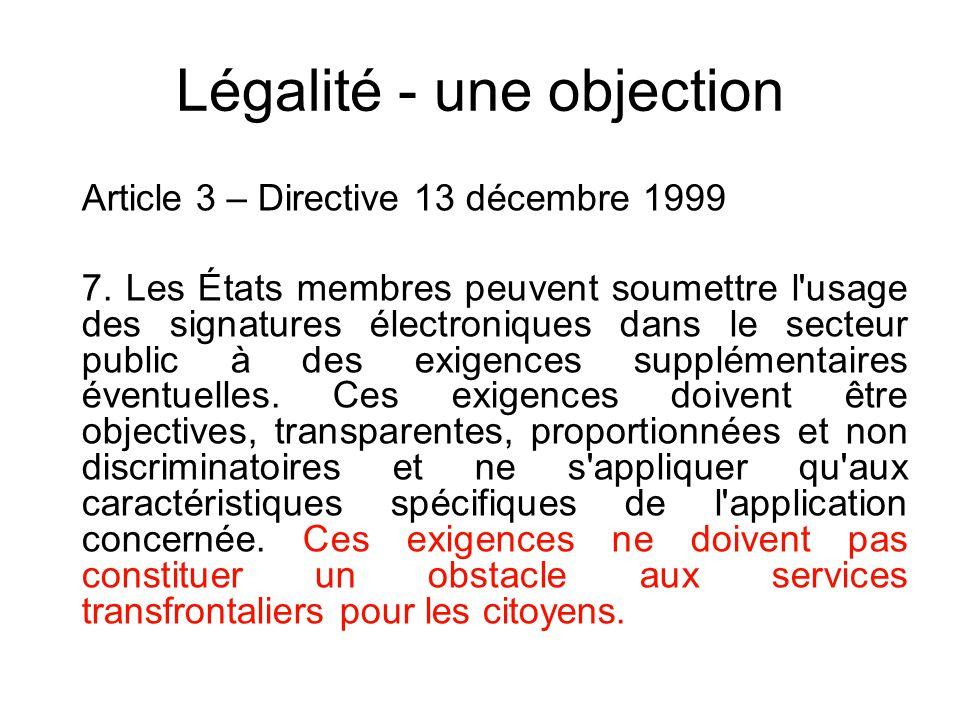 Les questions La légalité Les délais de mise en place Pourquoi une signature certifiée Pour quel(s) emploi(s) En quelle(s) qualité(s) (privée, publiqu