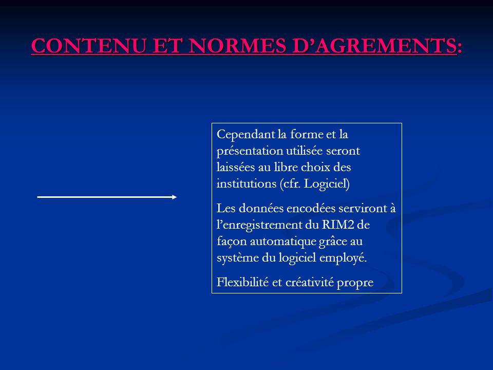 CONTENU ET NORMES DAGREMENTS: Cependant la forme et la présentation utilisée seront laissées au libre choix des institutions (cfr. Logiciel) Les donné