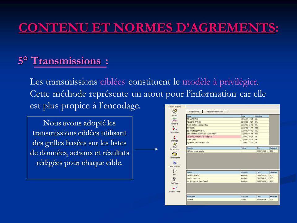 CONTENU ET NORMES DAGREMENTS: 5° Transmissions : Nous avons adopté les transmissions ciblées utilisant des grilles basées sur les listes de données, a