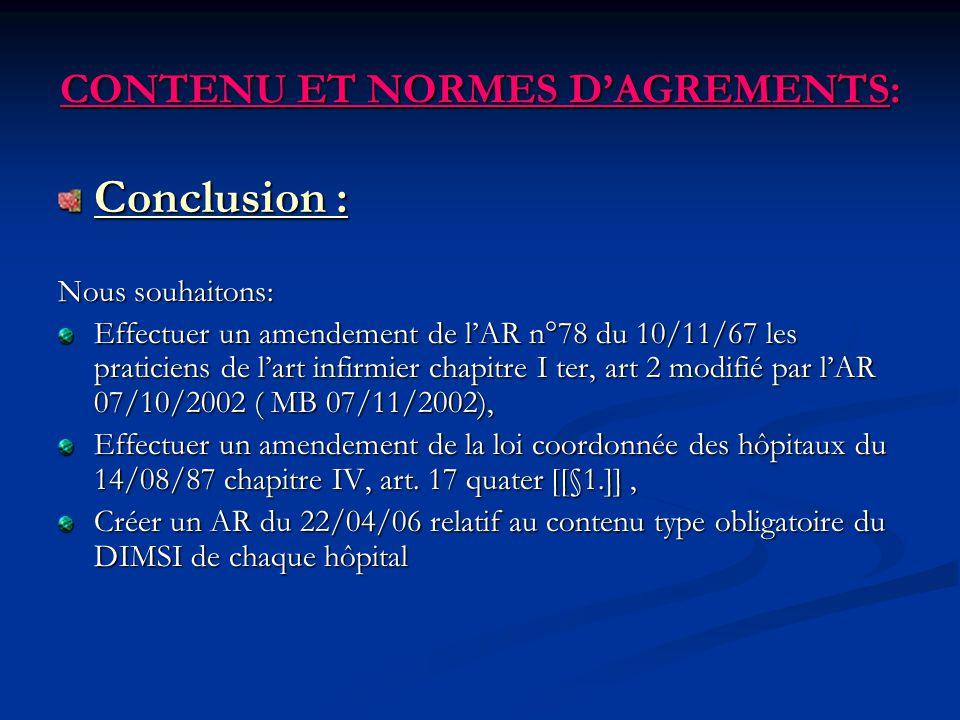 CONTENU ET NORMES DAGREMENTS: Conclusion : Nous souhaitons: Effectuer un amendement de lAR n°78 du 10/11/67 les praticiens de lart infirmier chapitre