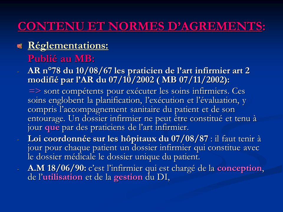 CONTENU ET NORMES DAGREMENTS: Réglementations: Publié au MB: - AR n°78 du 10/08/67 les praticien de lart infirmier art 2 modifié par lAR du 07/10/2002
