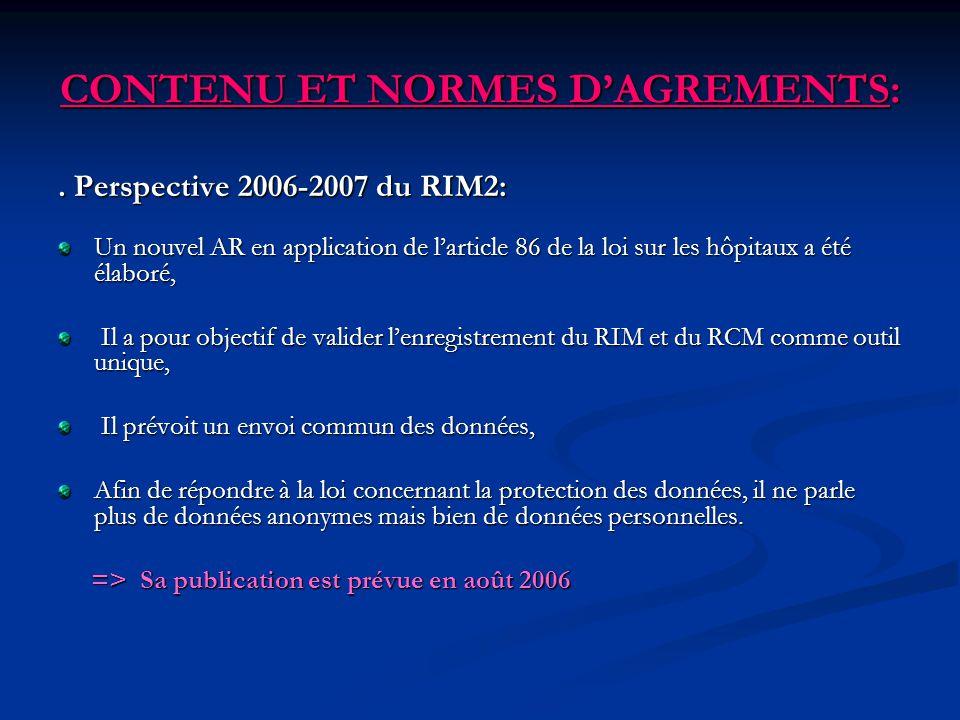 CONTENU ET NORMES DAGREMENTS:. Perspective 2006-2007 du RIM2: Un nouvel AR en application de larticle 86 de la loi sur les hôpitaux a été élaboré, Il