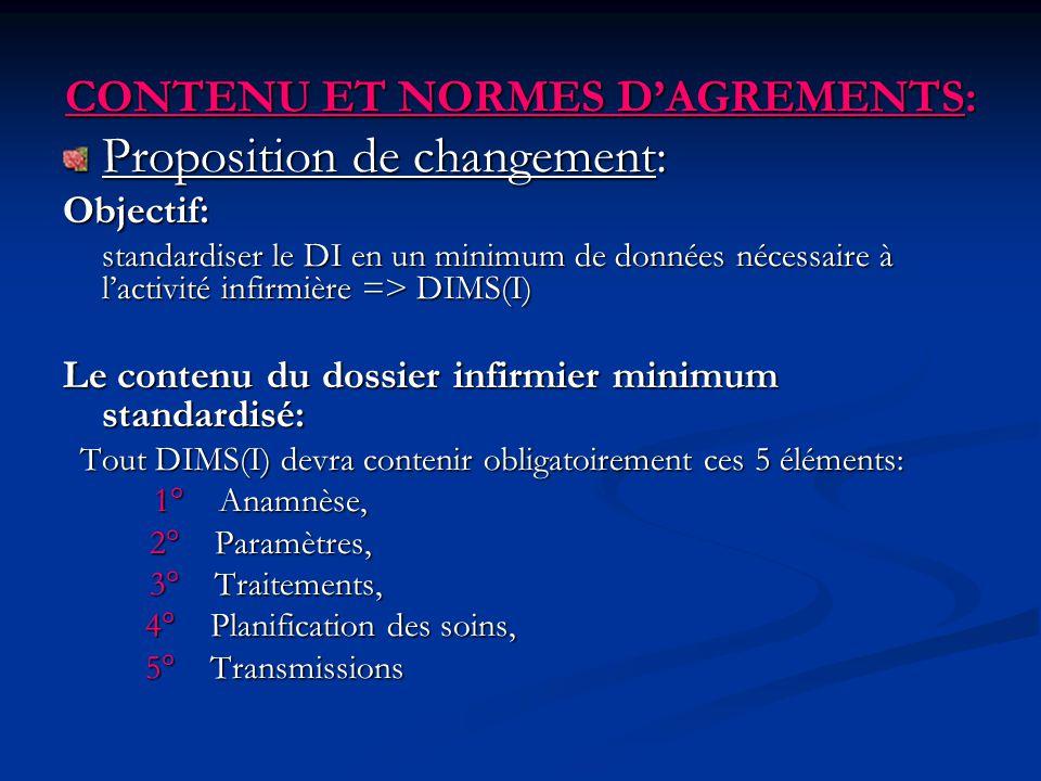 CONTENU ET NORMES DAGREMENTS: Proposition de changement: Objectif: standardiser le DI en un minimum de données nécessaire à lactivité infirmière => DI