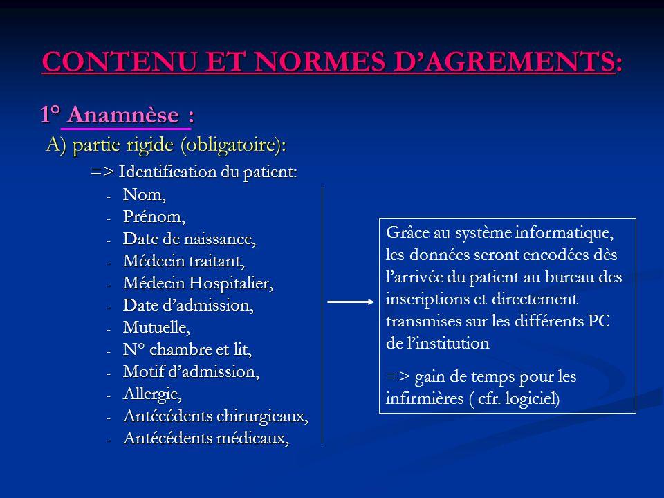 CONTENU ET NORMES DAGREMENTS: 1° Anamnèse : A) partie rigide (obligatoire): A) partie rigide (obligatoire): => Identification du patient: => Identific