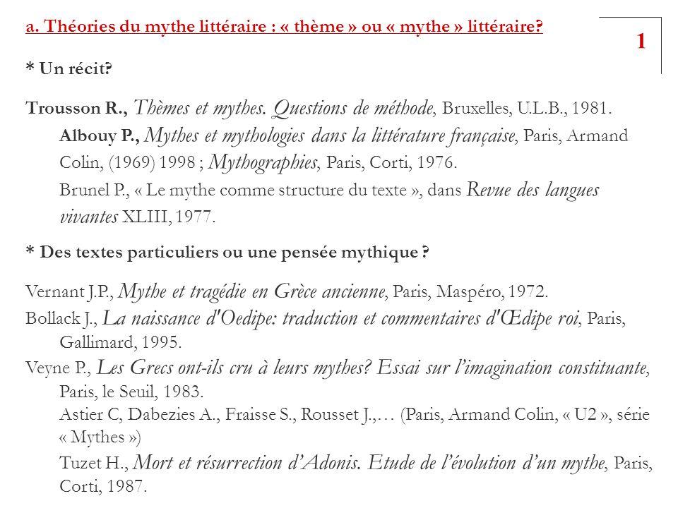 a. Théories du mythe littéraire : « thème » ou « mythe » littéraire? * Un récit? Trousson R., Thèmes et mythes. Questions de méthode, Bruxelles, U.L.B
