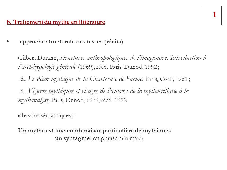 b. Traitement du mythe en littérature approche structurale des textes (récits) Gilbert Durand, Structures anthropologiques de limaginaire. Introductio