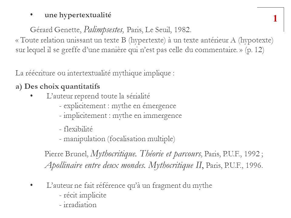 une hypertextualité Gérard Genette, Palimpsestes, Paris, Le Seuil, 1982. « Toute relation unissant un texte B (hypertexte) à un texte antérieur A (hyp