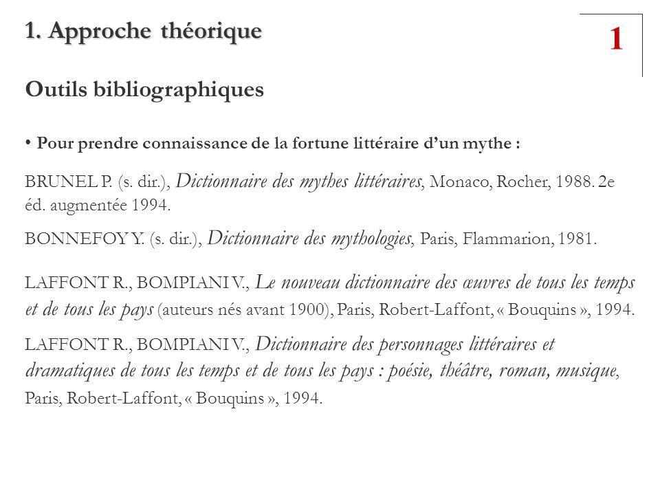 Outils bibliographiques Pour prendre connaissance de la fortune littéraire dun mythe : BRUNEL P. (s. dir.), Dictionnaire des mythes littéraires, Monac