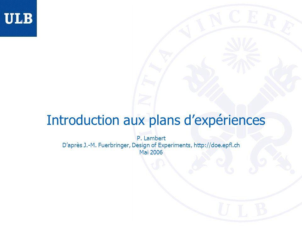 BEAMS Aperçu Exemple de départ Méthodologie des plans dexpériences – Plans factoriels Exemple du vélo Fiabilité des résultats