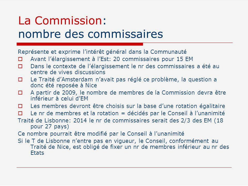 La Commission: nombre des commissaires Représente et exprime lintérêt général dans la Communauté Avant lélargissement à lEst: 20 commissaires pour 15