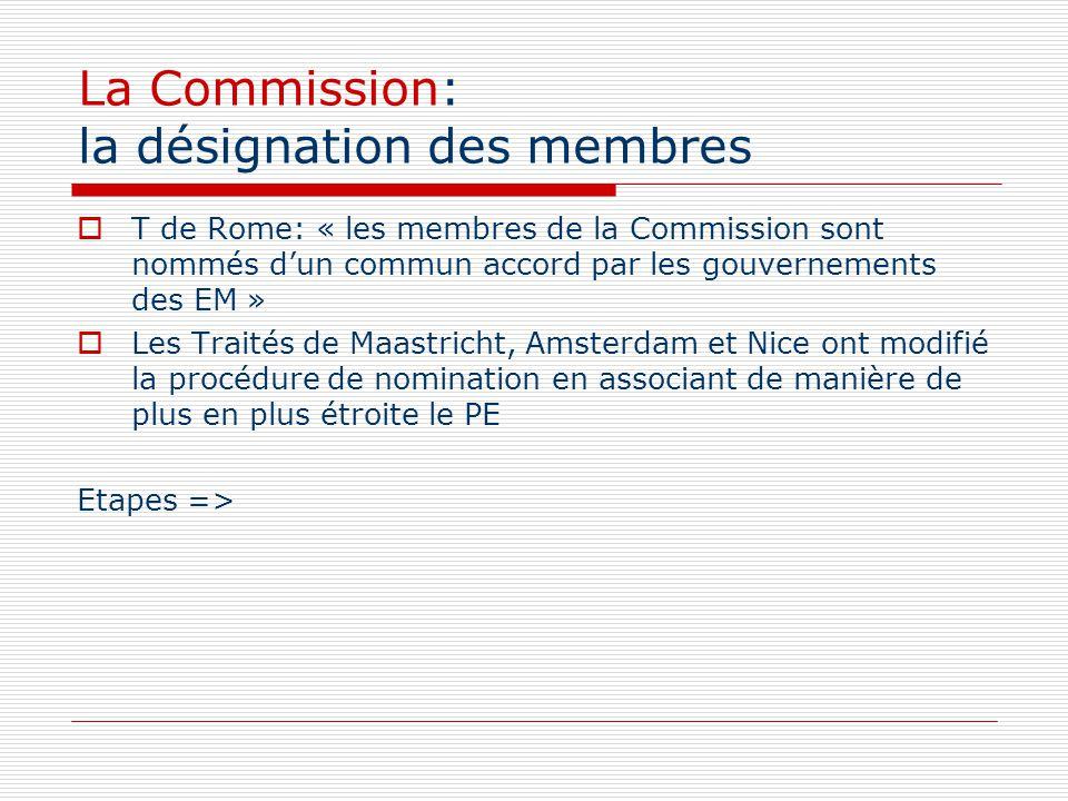 La Commission: la désignation des membres T de Rome: « les membres de la Commission sont nommés dun commun accord par les gouvernements des EM » Les T