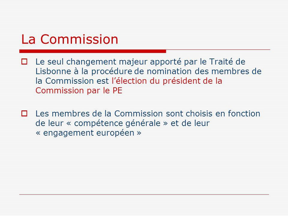 La Commission Le seul changement majeur apporté par le Traité de Lisbonne à la procédure de nomination des membres de la Commission est lélection du p