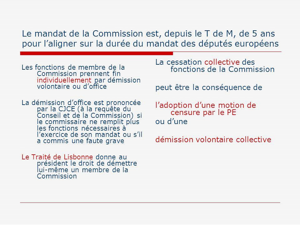 Le mandat de la Commission est, depuis le T de M, de 5 ans pour laligner sur la durée du mandat des députés européens Les fonctions de membre de la Co