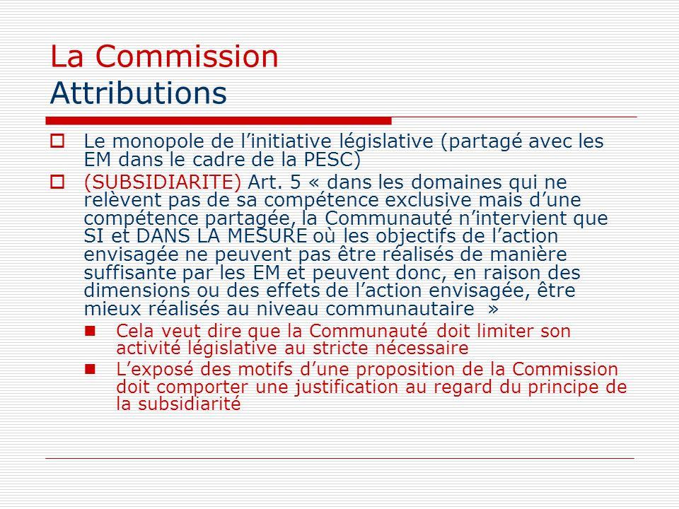 La Commission Attributions Le monopole de linitiative législative (partagé avec les EM dans le cadre de la PESC) (SUBSIDIARITE) Art. 5 « dans les doma