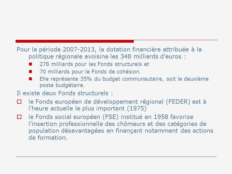 Pour la période 2007-2013, la dotation financière attribuée à la politique régionale avoisine les 348 milliards d'euros : 278 milliards pour les Fonds
